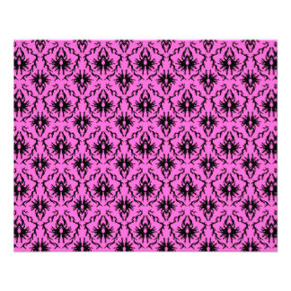 Bright Pink and Black Damask pattern. 11.5 Cm X 14 Cm Flyer