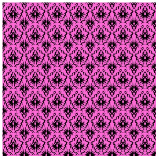 Bright Pink and Black Damask pattern. Photo Cut Out