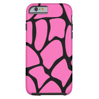 Bright Pink and Black Giraffe Pattern. Tough iPhone 6 Case