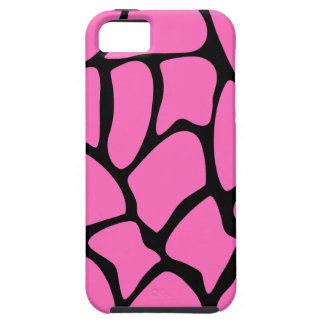 Bright Pink and Black Giraffe Print Pattern. iPhone 5 Case