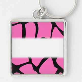 Bright Pink and Black Giraffe Print Pattern. Silver-Colored Square Key Ring