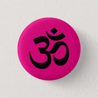 Bright Pink and Black Om Symbol 3 Cm Round Badge