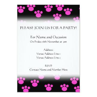Bright Pink and Black Paw Print Pattern. 13 Cm X 18 Cm Invitation Card