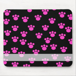 Bright Pink and Black Paw Print Pattern. Mouse Mat