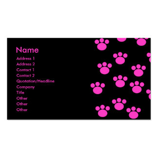 Bright Pink and Black Paw Print Pattern. Pack Of Standard Business Cards
