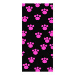 Bright Pink and Black Paw Print Pattern. Custom Rack Cards