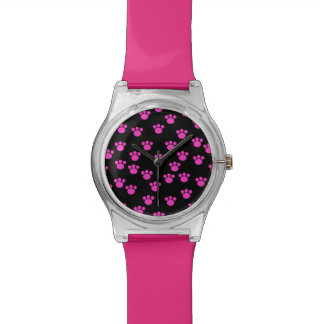 Bright Pink and Black Paw Print Pattern. Watch