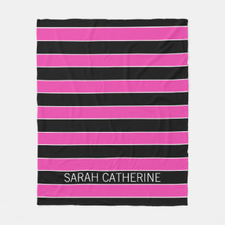 Bright Pink and Black Stripe Personalized Fleece Blanket