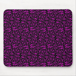 Bright Pink and Black Vine Pattern Mouse Pad
