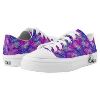 Bright Pink And Blue Abstract Pattern Low Tops