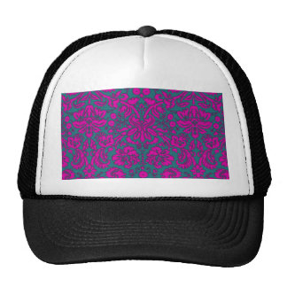 Bright Pink and Blue Damask Hats