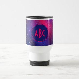 Bright Pink and Blue Galaxy Cluster Monogram Travel Mug