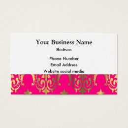Bright pink and gold damask business card