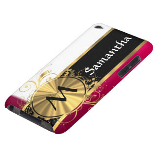 Bright pink and gold monogram iPod touch case