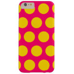 Bright Pink and Gold Polka Dots Barely There iPhone 6 Plus Case
