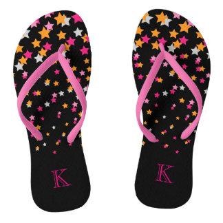 Bright Pink and Orange Confetti Stars on Black Flip Flops