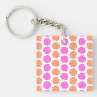 Bright Pink and Orange Flowers. Single-Sided Square Acrylic Key Ring
