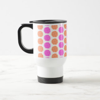Bright Pink and Orange Flowers. Travel Mug