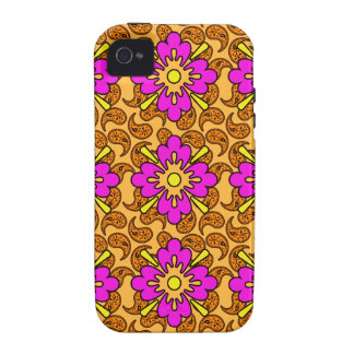 Bright Pink And Orange Paisley Phone Case Case-Mate iPhone 4 Cases