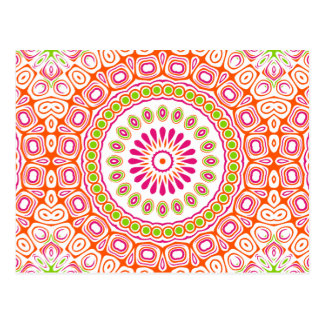 Bright Pink and Orange Spring Mandala Flower Postcard