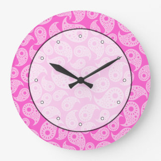 Bright Pink and Pastel Pink Paisley. Large Clock