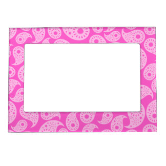 Bright Pink and Pastel Pink Paisley. Magnetic Picture Frame