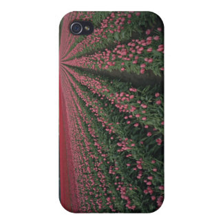 Bright pink and red tulips glow under dark case for iPhone 4