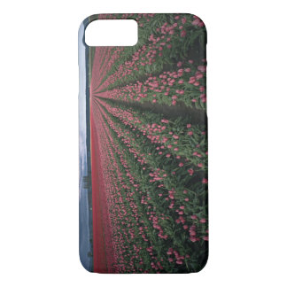 Bright pink and red tulips glow under dark iPhone 8/7 case