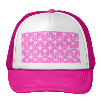 Bright Pink and White Damask pattern. Cap