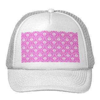 Bright Pink and White Damask pattern Trucker Hats
