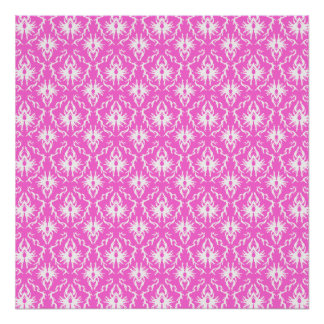Bright Pink and White Damask pattern. Poster