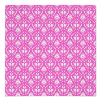 Bright Pink and White Damask pattern Poster