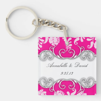 Bright Pink and White Floral Design Acrylic Key Chain