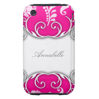 Bright Pink and White Floral Design Tough iPhone 3 Case