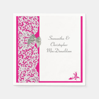 Bright pink and white lace traditional wedding disposable napkin