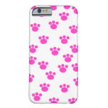 Bright Pink and White Paw Pattern. iPhone 6 Case