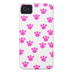 Bright Pink and White Paw Print Pattern. iPhone 4 Case