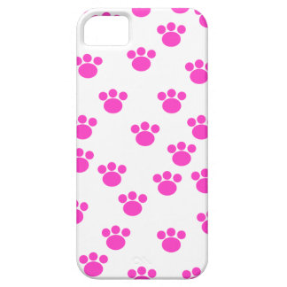 Bright Pink and White Paw Print Pattern. Case For The iPhone 5