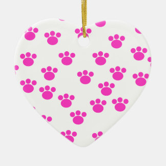 Bright Pink and White Paw Print Pattern. Christmas Ornament