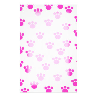 Bright Pink and White Paw Print Pattern. Customized Stationery