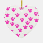 Bright Pink and White Paw Print Pattern. Christmas Tree Ornaments