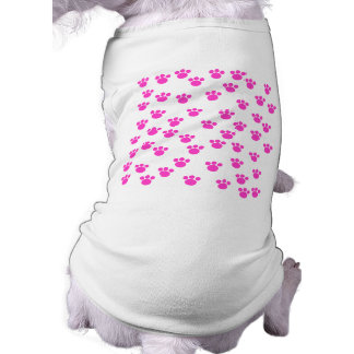 Bright Pink and White Paw Print Pattern. Dog Clothes