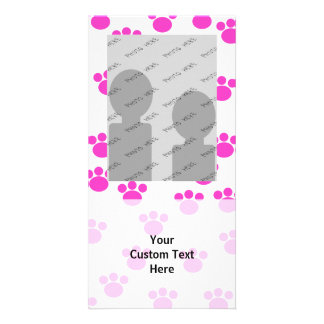 Bright Pink and White Paw Print Pattern. Personalized Photo Card