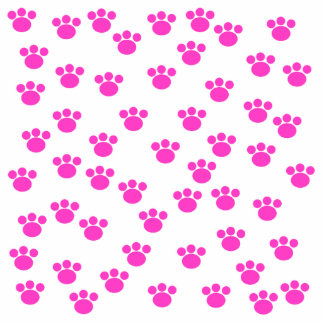 Bright Pink and White Paw Print Pattern. Photo Sculpture Key Ring