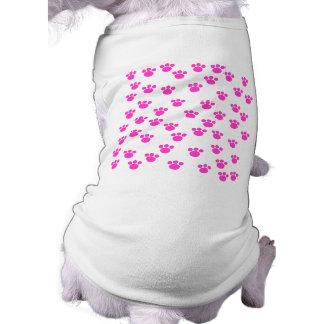 Bright Pink and White Paw Print Pattern. Sleeveless Dog Shirt