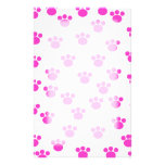 Bright Pink and White Paw Print Pattern. Stationery Design