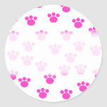 Bright Pink and White Paw Print Pattern. Stickers