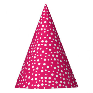 Bright Pink and White Polka Dot Party Hat