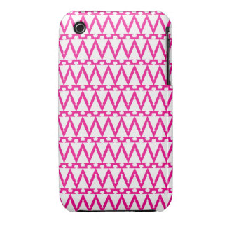 Bright Pink and White ZigZag Pattern iPhone 3 Covers