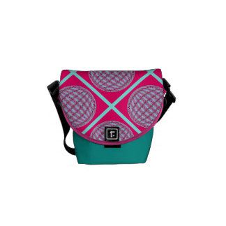 Bright Pink/Aqua X Pattern Globe Design w/Monogram Commuter Bags